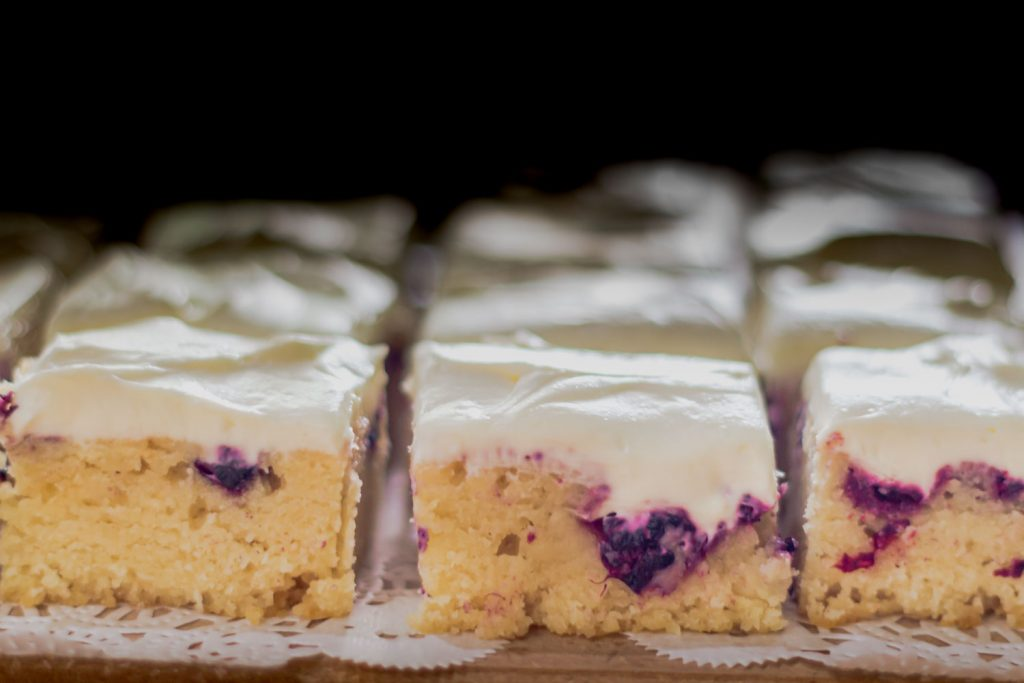 White chocolate raspberry blondies